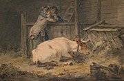 Flirtation Framed Prints - Courtship in a Cowshed Framed Print by Julius Caesar Ibbetson