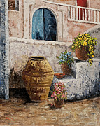 Impressionistic Oil Paintings - Courtyard 2 by Darice Machel McGuire