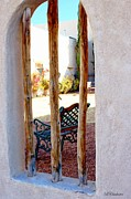 Las Cruces Art Prints - Courtyard Bench Print by Barbara Chichester