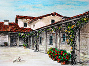City Garden Drawings - Courtyard by Danuta Bennett