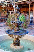 Las Cruces Print Framed Prints - Courtyard Fountain Framed Print by Barbara Chichester