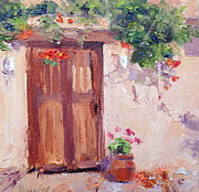 Daily Painter Prints - Courtyard Gate with Trumpet Vine Print by Carol Hopper
