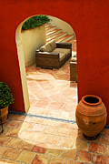 Doorway Prints - Courtyard of a villa Print by Elena Elisseeva