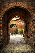 Historical Sight Prints - Courtyard of Cathedral of Ste-Cecile in Albi France Print by Elena Elisseeva