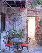 Cajun Paintings - Courtyard of the Napoleon House by John Boles