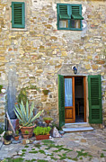 Ally Framed Prints - Courtyard of Tuscany Framed Print by David Letts