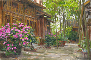 China Painting Framed Prints - Courtyard of weavers workshops Framed Print by Victoria Kharchenko