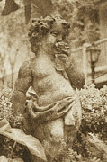 Statue Portrait Digital Art - Courtyard Statue of a Cherub Smelling a Rose French Quarter New Orleans Vintage Digital Art by Shawn OBrien