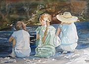 Baseball Cap Painting Prints - Cousins at the Brook Print by Jenny Armitage