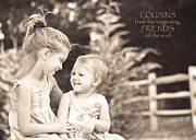 Laughing Framed Prints - Cousins Framed Print by Trish Tritz