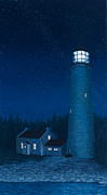 Bruce Painting Originals - Cove Island Light Night by Michael Marcotte