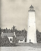 National Park Drawings - Cove Island Lighthouse by Michelle Hogan