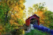 Covered Bridge Paintings - Coverd Bridge I McCarther Ohio by Scott B Bennett