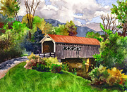 Red Roofed Barn Art - Covered Barn with Red Roof by Anne Gifford