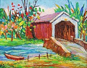 Covered Bridge Painting Metal Prints - Covered bridge 1 Metal Print by Siang Hua Wang