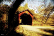 Old Country Roads Posters - Covered Bridge 2 Poster by Cheryl Young