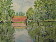 Covered Bridge Paintings - Covered Bridge 2 by Louise Douglas