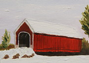 Snow-covered Landscape Originals - Covered Bridge by Alan Mager