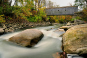 Litchfield County Acrylic Prints - Covered Bridge at Bull Run - Kent Connecticut Acrylic Print by Thomas Schoeller