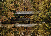 Sturbridge Village Framed Prints - Covered bridge at Sturbridge Village Framed Print by Jeff Folger