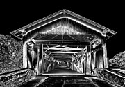 H Scott Cushing - Covered Bridge black and...
