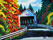 Covered Bridge Painting Metal Prints - Covered Bridge Metal Print by Bob Crawford