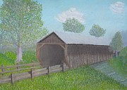 Ohio Pastels Prints - Covered Bridge Print by Cathy Pierce Payne