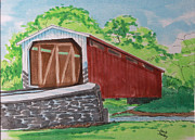 Covered Bridge Painting Metal Prints - Covered Bridge in Lancaster Pa Metal Print by Jack Selby