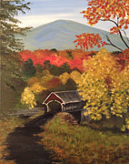 Covered Bridge Painting Metal Prints - Covered Bridge in New Hampshire Metal Print by Holly Bean