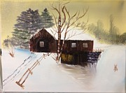 Snow-covered Landscape Originals - Covered Bridge in Winter by Gary Frascarelli