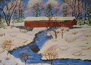Covered Bridge Painting Metal Prints - Covered Bridge in Winter Metal Print by Victor Alderson