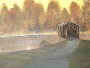 Covered Bridge Paintings - Covered Bridge by James Waligora