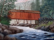 Covered Bridge Painting Metal Prints - Covered Bridge Metal Print by June Weaver