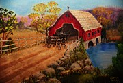 Covered Bridge Painting Metal Prints - Covered Bridge Metal Print by Katherine Hall