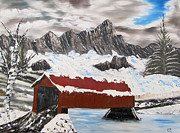 Snow-covered Landscape Originals - Covered Bridge by Larry Marano