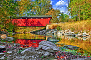 Everett Rd. Covered Bridge Photos - Covered Bridge by Marcia Colelli