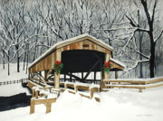 Covered Bridge - Mill Creek Park Print by Laurie Anderson