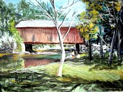 Covered Bridge Painting Metal Prints - Covered Bridge Newport NH Metal Print by Art  Stenberg
