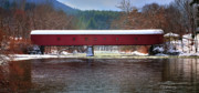 Winter Scenes Rural Scenes Art - Covered bridge of West Cornwall-Winter panorama by Thomas Schoeller