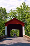 Covered Bridge Metal Prints - Covered Bridge Metal Print by Olivier Le Queinec