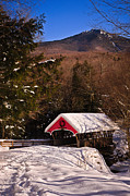New England Snow Scene Metal Prints - Covered Bridge Over The Pemigewasset Flume Gorge Metal Print by Jeff Sinon
