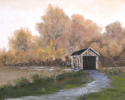 Randall Painting Originals - Covered Bridge by Randall Brewer