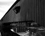 Indiana Scenes Posters - Covered Bridge Reflections BW Poster by Mel Steinhauer
