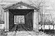 Covered Bridge Drawings Metal Prints - Covered Bridge Metal Print by Robert Tracy