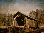 Pamela Phelps Framed Prints - Covered Bridge-Textured Image Framed Print by Pamela Phelps