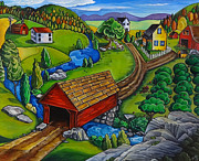 Covered Bridge Paintings - Covered Bridge by Transcend Designs