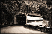 Covered Bridge Digital Art Metal Prints - Covered Bridge - Valley Forge Metal Print by Bill Cannon