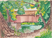 Old England Mixed Media Prints - Covered Bridge Watercolor Print by Fred Jinkins