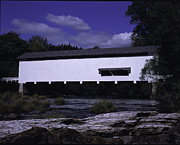 Wayne Oberparleiter Metal Prints - Covered Bridge with Log Metal Print by Wayne Oberparleiter