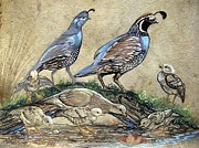 Amate Bark Paper Prints - Covey of Quail Print by Anne Shoemaker-Magdaleno